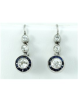 ANTIQUE PLATINUM, GOLD 18K, DIAMONDS AND SYNTHETIC SAPPHIRES EARRINGS