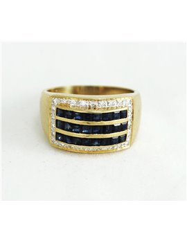 18K GOLD WITH DIAMONDS AND SHAPPIRES
