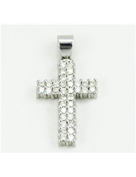 18K GOLD WHITE CROSS WITH DIAMONDS