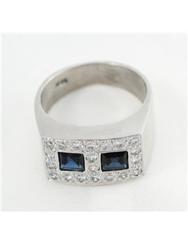 18K GOLD WITH DIAMONDS AND SAPPHIRES RING