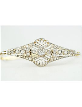 PULSERA ANTIGUA ORO 18K CON BRILLANTES Y DIAMANTES