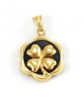 18K GOLD AND ONYX PENDANT