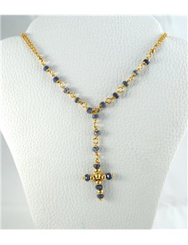 18K GOLD WITH SAPPHIRE ROSARY