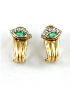 18K GOLD WITH DIAMONDS AND EMERALD EARRINGS