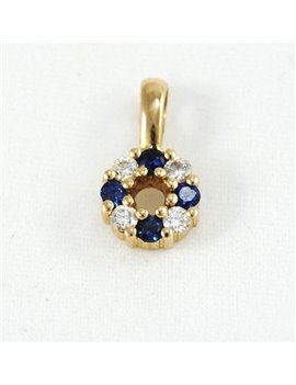 18K GOLD WITH DIAMONDS AND SAPPHIRE PENDANT