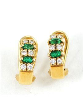 18K GOLD WITH DIAMONDS AND EMERALDS EARRINGS