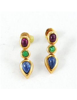 18K GOLD WITH RUBY, EMERALD AND SAPPHIRE