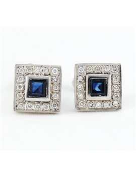 18K WHITE GOLD WITH SAPPHIRES AND DIAMONDS EARRINGS