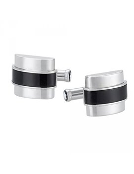 MONTBLANC CUFFLINKS STEEL AND ONYX CREATIVE LINE 109849
