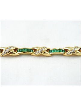 EMERALD BRACELET WITH 18K GOLD AND DIAMONDS
