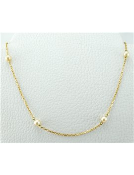 18K GOLD NECKLACE WITH CULTURED PEARLS