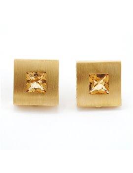 18K GOLD AND TOPAZ EARRINGS