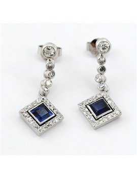 18K WHITE GOLD WITH NATURAL SAPPHIRES AND DIAMONDS