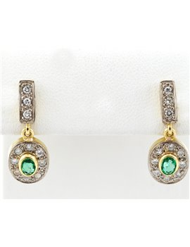 18K GOLD, DIAMONDS AND EMERALD EARRINGS