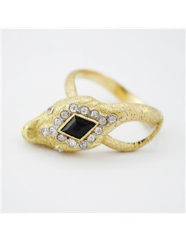 ART DECO SNAKE 18K GOLD DIAMONDS AND NATURAL BLUE SAPPHIRE RING