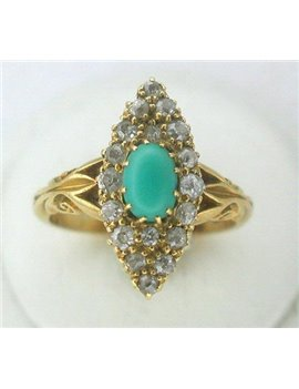 18K GOLD RING WITH TURQUOISE AND DIAMONDS