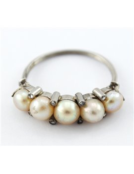 ANTIQUE 18K GOLD RING, CULTURED PEARLS AND DIAMONDS