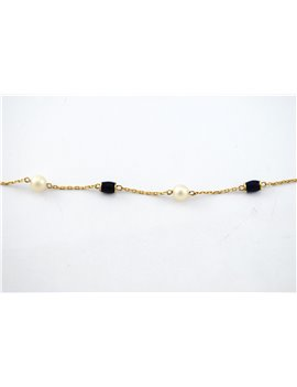 18K GOLD BRACELET WITH PEARLS AND ENAMEL