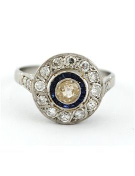PLATINUM WITH DIAMONDS AND SYNTHETIC SAPPHIRES