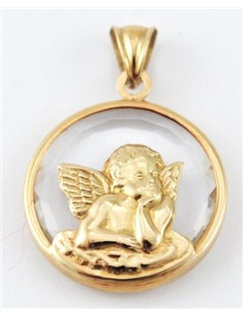 18K GOLD MEDAL ANGEL OF GLASS WITH OR NÁCAR
