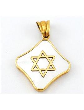 DAVID STAR MEDAL IN 18K GOLD AND NACAR