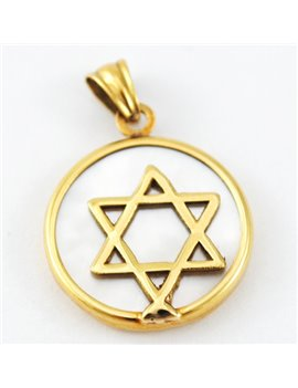 MEDAL GOLD STAR OF DAVID 18K AND NACAR