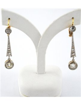 18K GOLD, PLATINUM AND DIAMONDS ANTIQUE EARRINGS