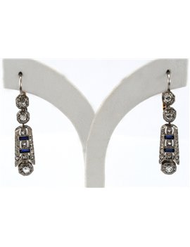 18K GOLD ANTIQUE EARRINGS WITH DIAMONDS AND SAPPHIRES