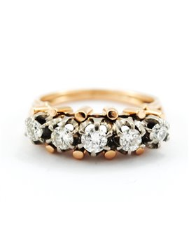 18K PINK GOLD WITH 5 DIAMONDS RING