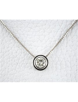 18K WHITE GOLD CHAIN AND PENDANT WITH DIAMONDS