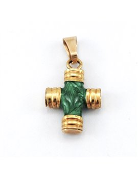 18K GOLD CROSS AND ENAMEL