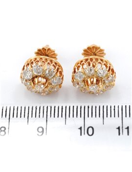 ANTIQUE PAIR OF EARRINGS 18K YELLOW GOLD AND DIAMONDS