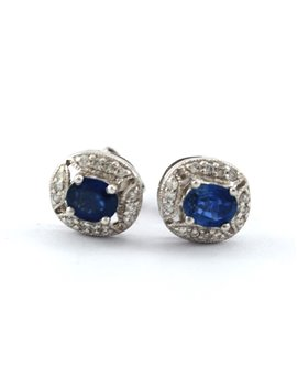 18K GOLD WITH DIAMONDS AND SAPPHIRE EARRINGS