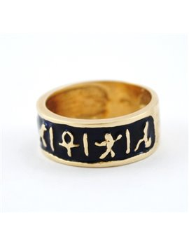 18K GOLD RING AND ENAMEL