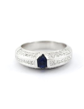 18K WHITE GOLD WITH DIAMONDS AND SAPPHIRE RING