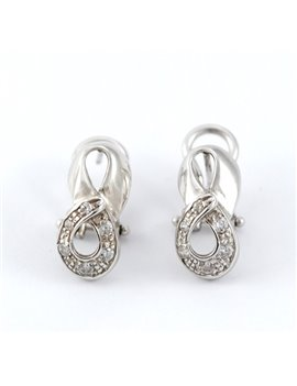 18K WHITE GOLD EARRINGS AND ZIRCONIAS