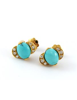 18K GOLD WITH DIAMONDS AND TURQUOISE EARRINGS