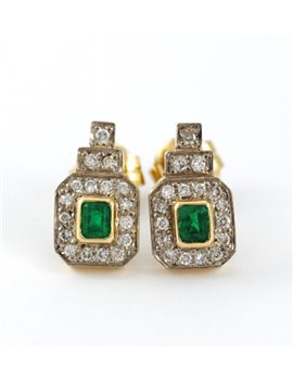 18K GOLD WITH DIAMONDS AND EMERALDS