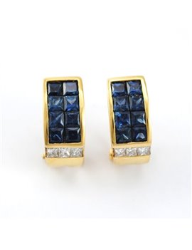 18K GOLD WITH DIAMONDS AND SAPPHIRES EARRINGS