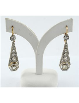 PLATINUM, 18K GOLD WITH DIAMONDS EARRINGS