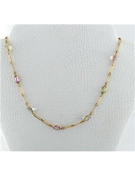 18K GOLD NECKLACE AND STONES COLOR