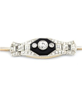 OLD BRACELET 18K GOLD, PLATINUM, ONYX AND DIAMONDS