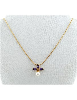 CHAIN 18K GOLD WITH PENDANT WITH  AMETHYST AND CULTURED PEARL