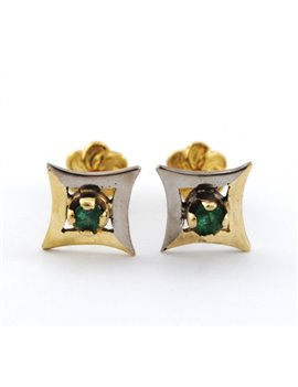 18K GOLD AND EMERALDS EARRINGS