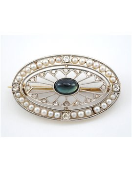ANTIQUE DIAMONDS, BLUE SAPPHIRE AND PEARLS 18K GOLD BROOCH