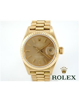 ROLEX LADIES PRESIDENT 18K YELLOW GOLD REF. 69178 CHAMPAGNE DIAL WATCH
