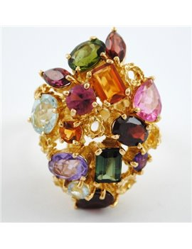 H.STERN MULTICOLOR GEMSTONES 18K YELLOW GOLD RING