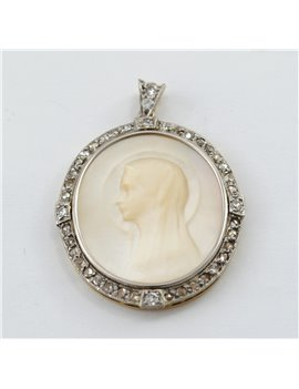 OLD MEDAL PLATINUM, GOLD 18K WITH MOTHER OF PEARL AND DIAMONDS