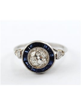 PLATINUM WITH DIAMONDS AND SYNTHETIC SAPPHIRE RING