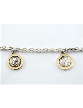 SILVER 900 BRACELET WITH GOLD RELIGIOUS MEDALS